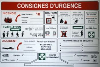 Affichage des consignes d'urgence